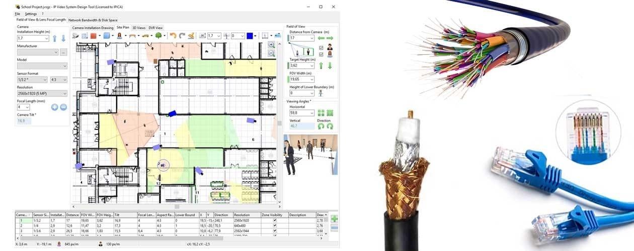 کابل های مورد نیاز برای رسم نقشه سیم کشی دوربین مدار بسته